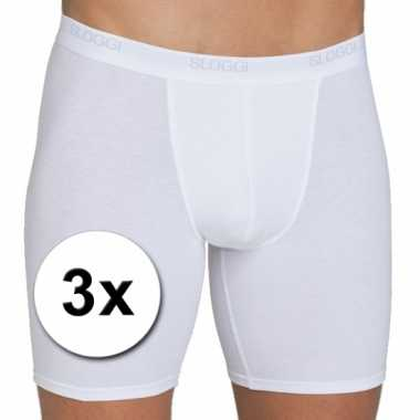 X Sloggi basic long heren boxershort wit